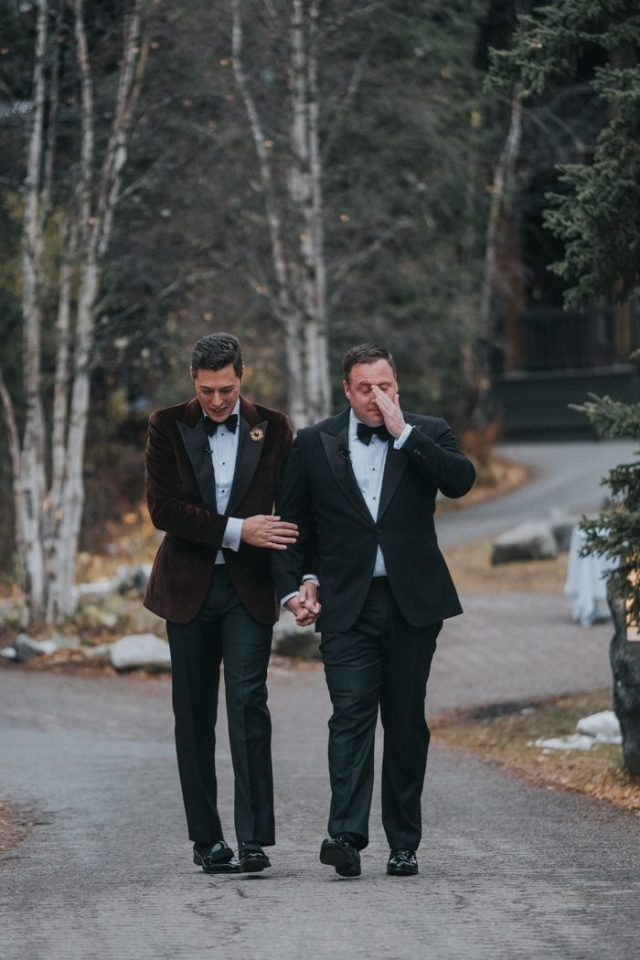 grooms crying after their wedding ceremony is a super touching moment full of love they share