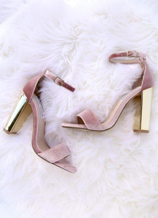pink velvet ankle strap sandals with shiny gold block heels are a girlish idea to rock