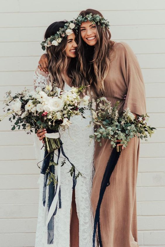 a rust-colored wrap maxi dress with long sleeves, a V-neckline for a boho chic maid of honor look