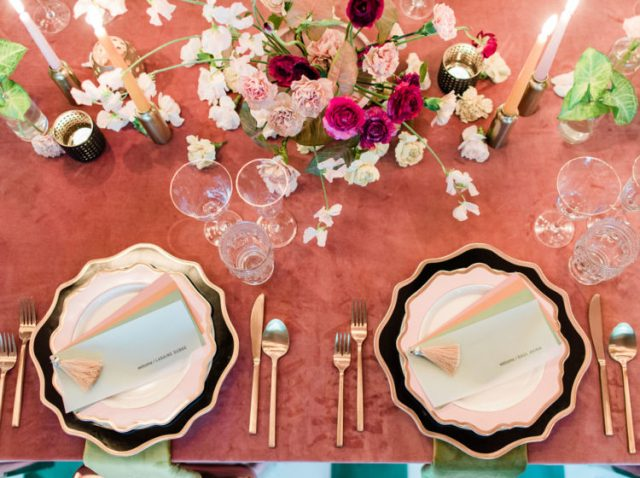 The wedding centerpiece was bright and textural, and we all love tasseled stationery