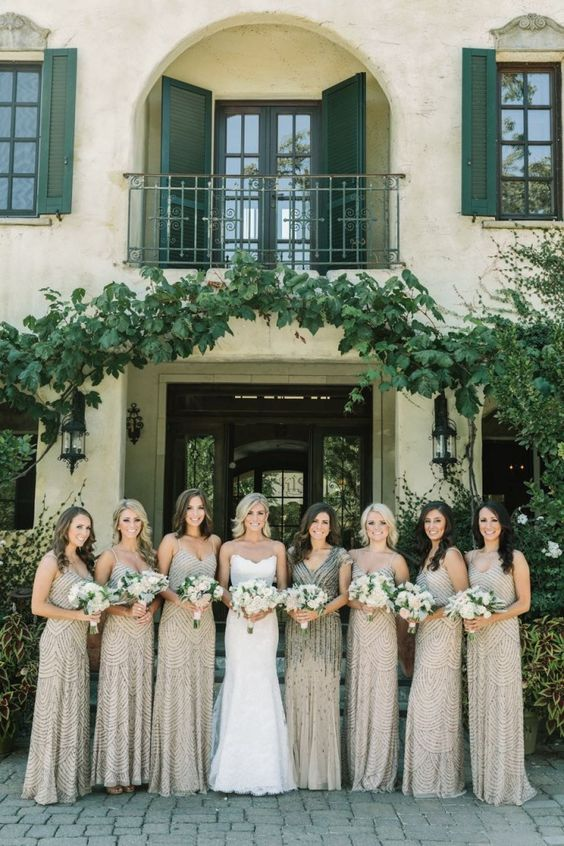 neutral full embellished bridesmaid dresses with spaghetti straps and a neutral dress with black embellishments and cap sleeves