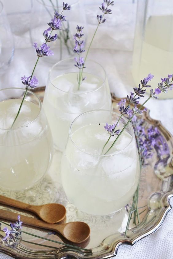 lavender lemonade with real lavender instead of usual drink stirrers is a no-brainer for a spring wedding