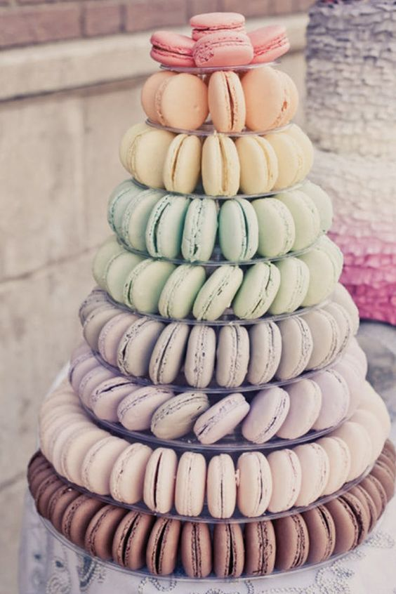 skip heavy desserts and offer macarons with various delicious and refreshing flavors, you may also offer a macaron tower instead of a wedding cake