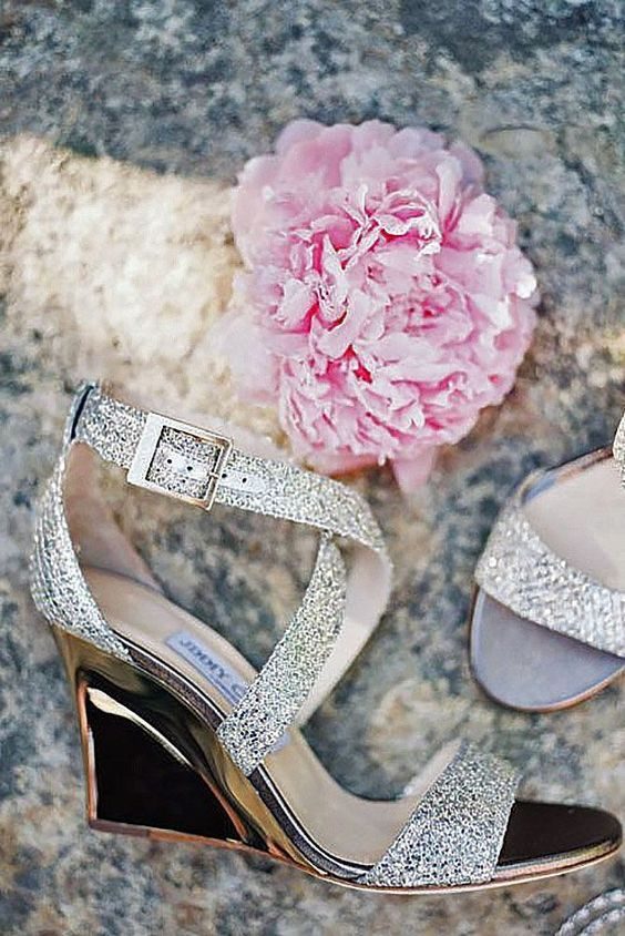 sparkling strappy wedges in silver with polished metal heels is a chic and glam idea