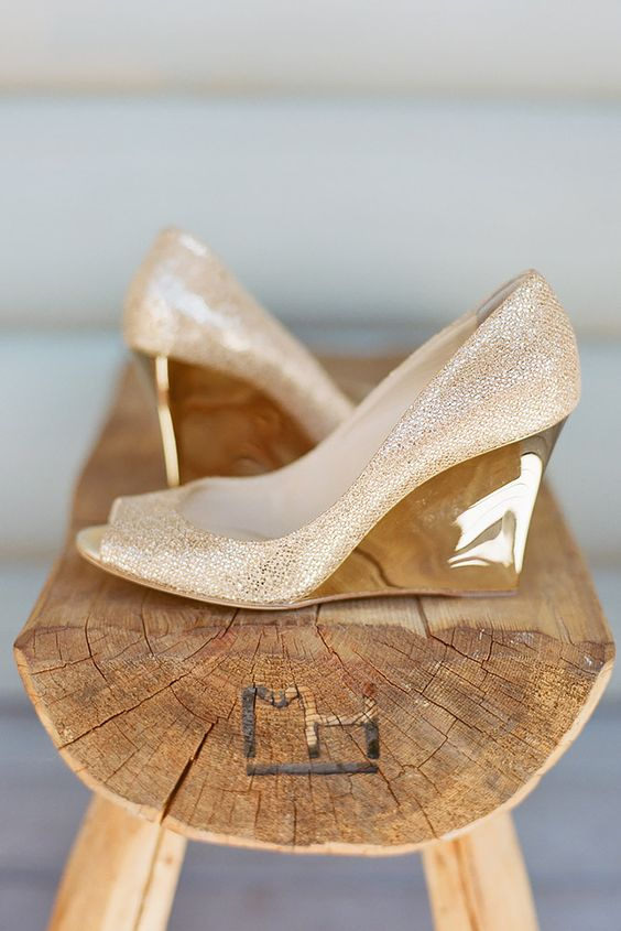 sparkly gold wedding wedges with peep toes and a shiny patterned heel for a catchy and bold look
