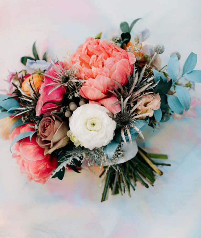 luxurious bright wedding bouquet