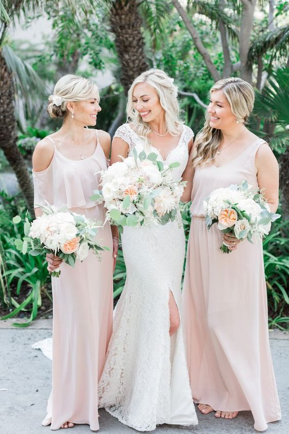 mismatching blush maxi bridesmaid dresses with slits and various necklines are a romantic and soft idea