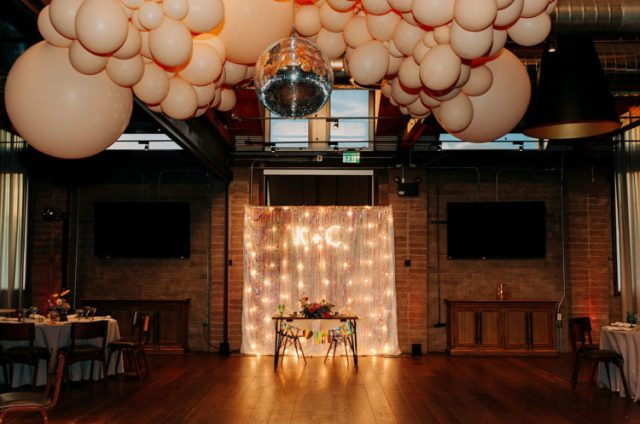 The reception decor included nude balloons in various sizes and even a disco ball, yay