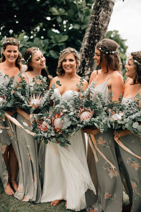 grey maxi bridesmaid dresses with spaghetti straps and pink floral prints plus side slits