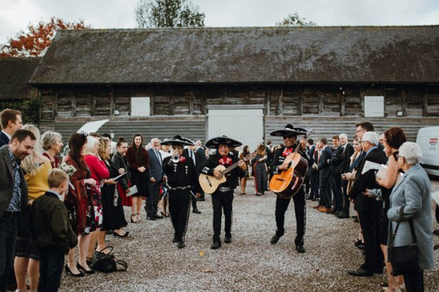 A surprise mariachi band played at the wedding