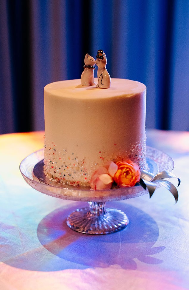 The wedding cake was topped with cute cats, too