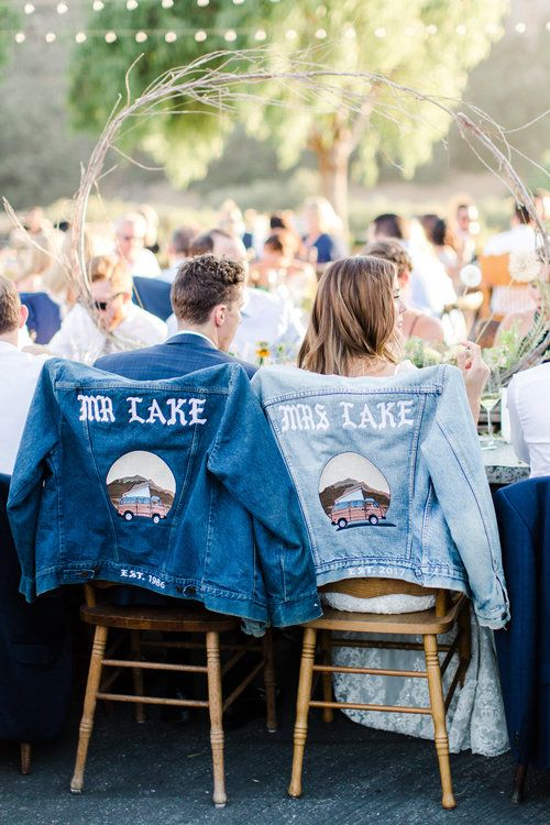 cute blue matching denim jacket for both is a fun idea to mark your chairs and shoot some portraits