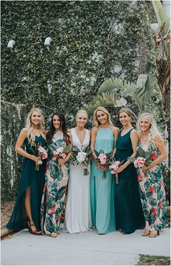 1a93d1f4cca2 mismatching bridesmaid maxi dresses - with floral prints, in dark green and  light blue with