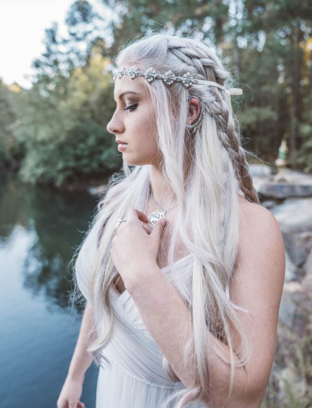 this bridal look is inspired by the bridal look of Daenerys marrying drogo, with a braided half updo and a tender draped blush wedding dress