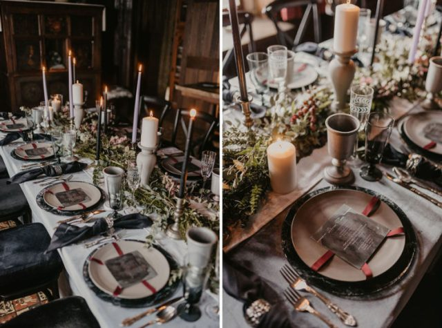 a modern moody GOTH tablescape with stone touches, black and grey candles, dark napkins and red ribbons