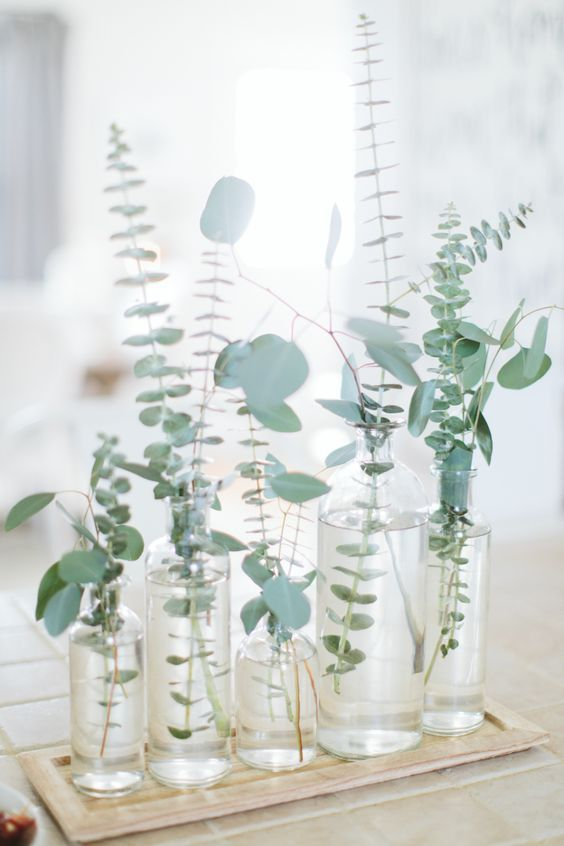 a minimalist wedding centerpiece with clear vases and fresh eucalyptus is a stylish and refreshing idea