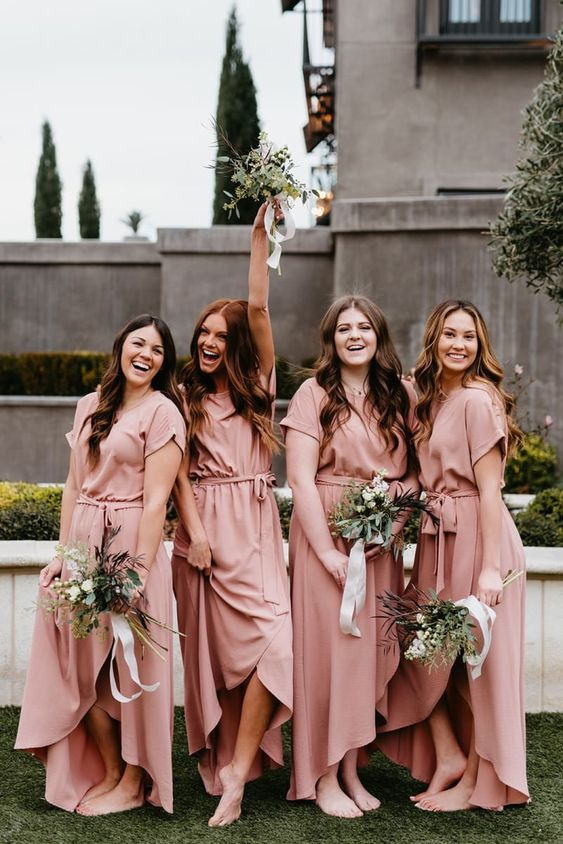 pink wrap maxi bridesmaid dresses with short sleeves and a high neckline for a summer wedding