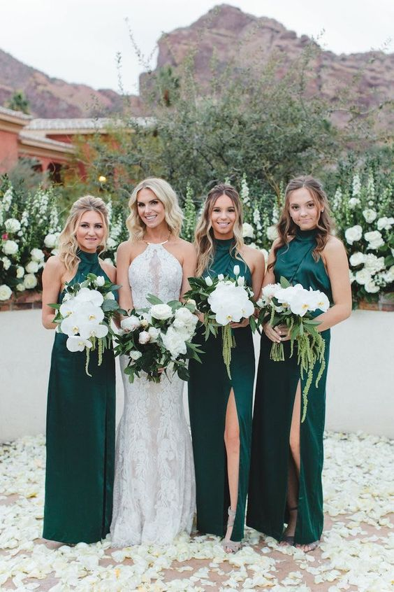 emerald halter neckline bridesmaid dresses with front slits look sexy and bold