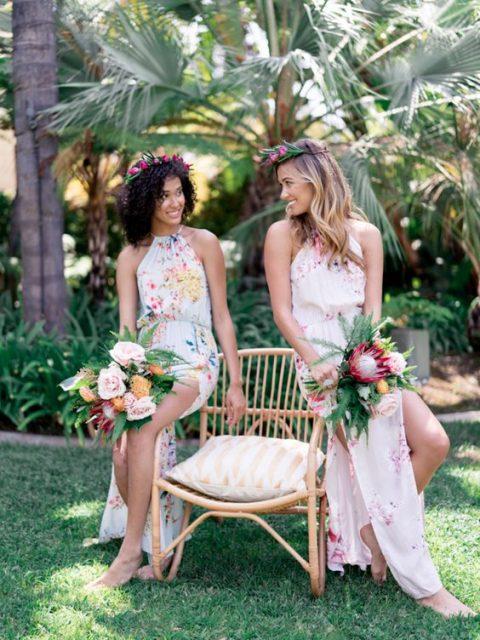 colorful floral print halter neckline maxi bridesmaid dresses plus colorful floral crowns