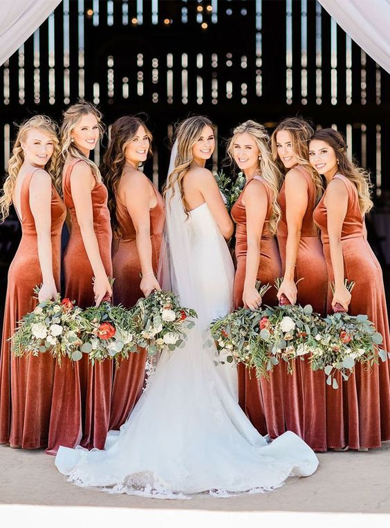 fantastic terracotta velvet fitting maxi bridesmaid dresses are pure luxury that fits anyone