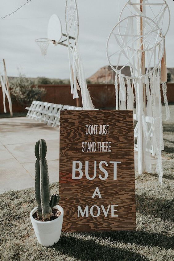 prefer a wooden or plywood sign instead of acrylic ones to make the decor more sustainable