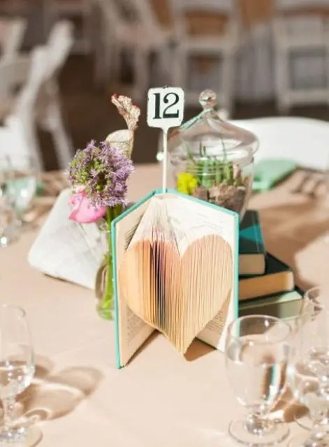 a whimsy book wedding centerpiece of a single book with pages cut to form a heart and a table number