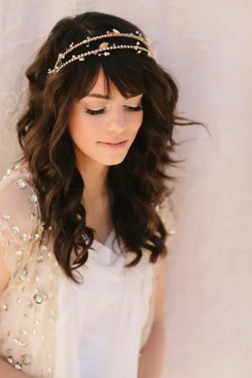 39 Chic And Pretty Wedding Hairstyles With Bangs Weddingomania