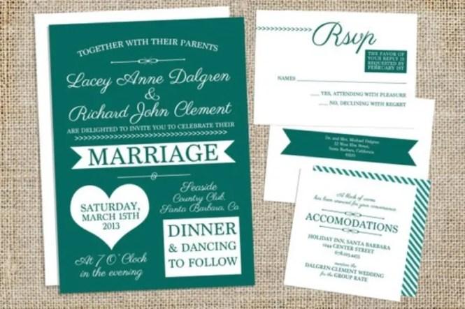 Nautical Emerald Wedding Invitations