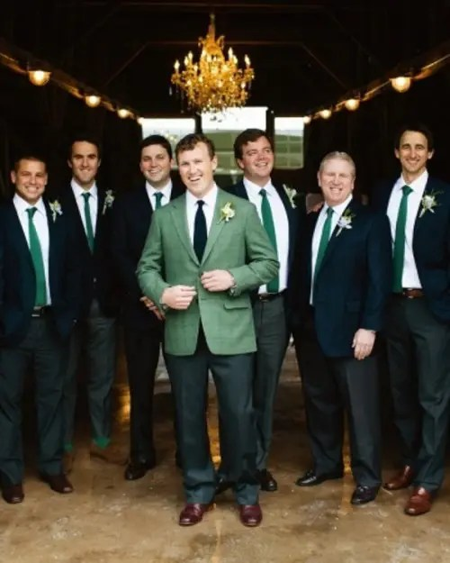 emerald ties and socks and dark green pants for groomsmen is a hot idea