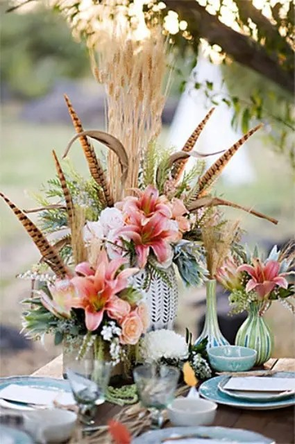 34 Bold And EyeCatching Boho Chic Wedding Centerpieces  Weddingomania