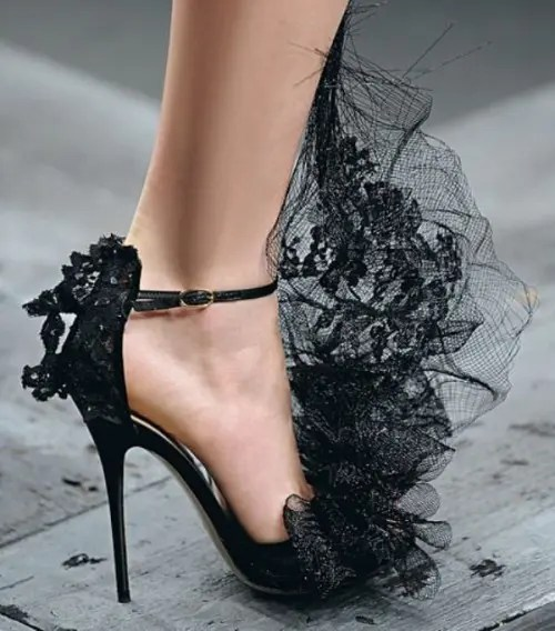 black lace wedding shoes with lace detailing on top