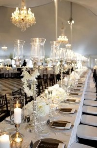 Picture Of Elegant Black And White Wedding Table Settings