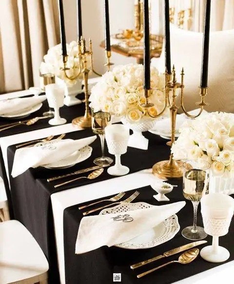 Elegant Black And White Table Settings 8