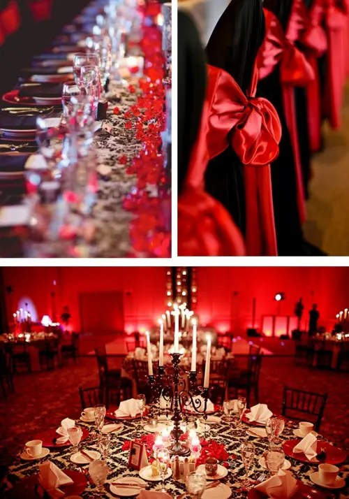 red napkins, red bows on chairs, red candles and black candelabra for bright wedding decor