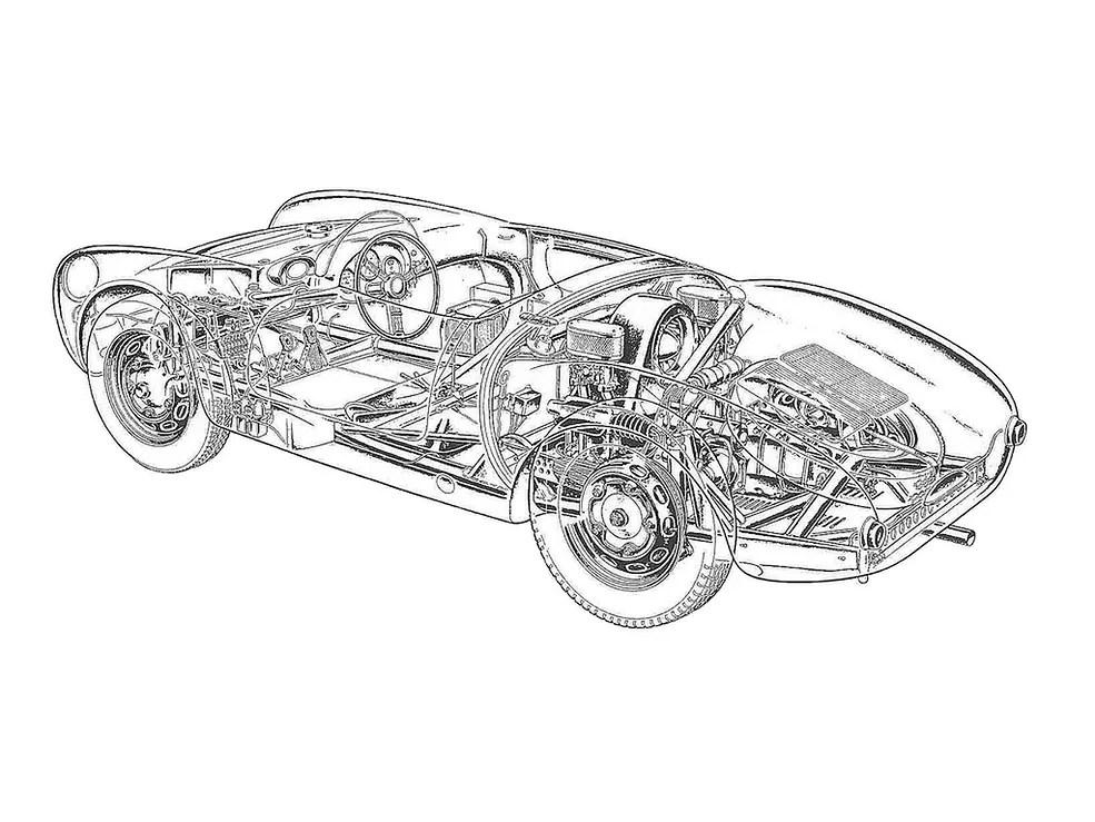 Samochody sportowe nago, czyli ryciny aut z odsłoniętymi