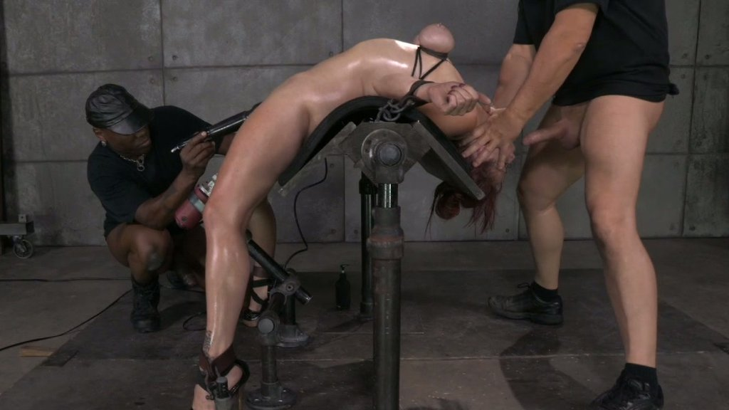 Red haired bitch with bound tits Bella Rossi had hard BDSM