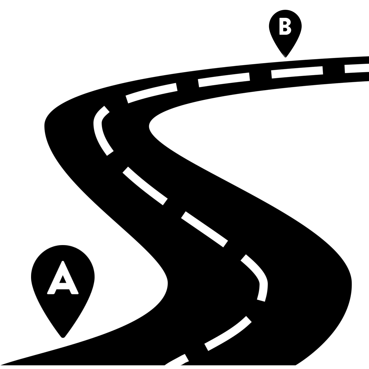 hight resolution of vector paths winding road map graphic black