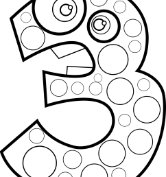 clipart animal number three lineart [ 1841 x 2400 Pixel ]