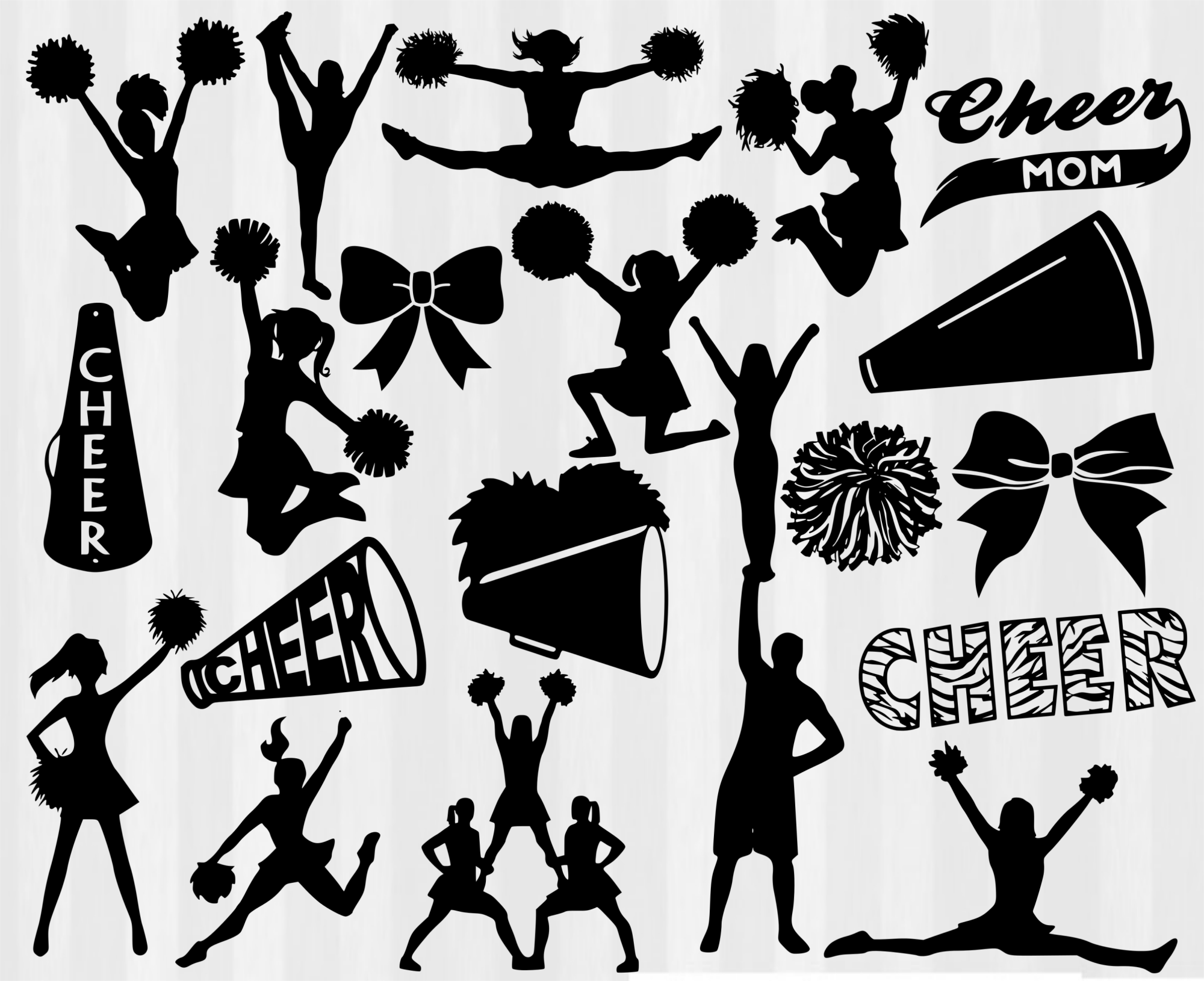 hight resolution of cheer clipart file megaphone and pom poms