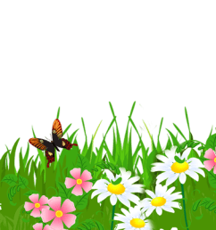 daisy clipart landscape grass ground with flowers [ 2210 x 403 Pixel ]