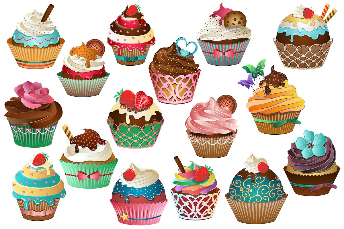 hight resolution of cupcake clipart vector png jpg illustrations creative market