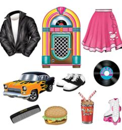 50s soda shop diner jukebox grease cutouts diner rock n roll party  [ 1024 x 1024 Pixel ]