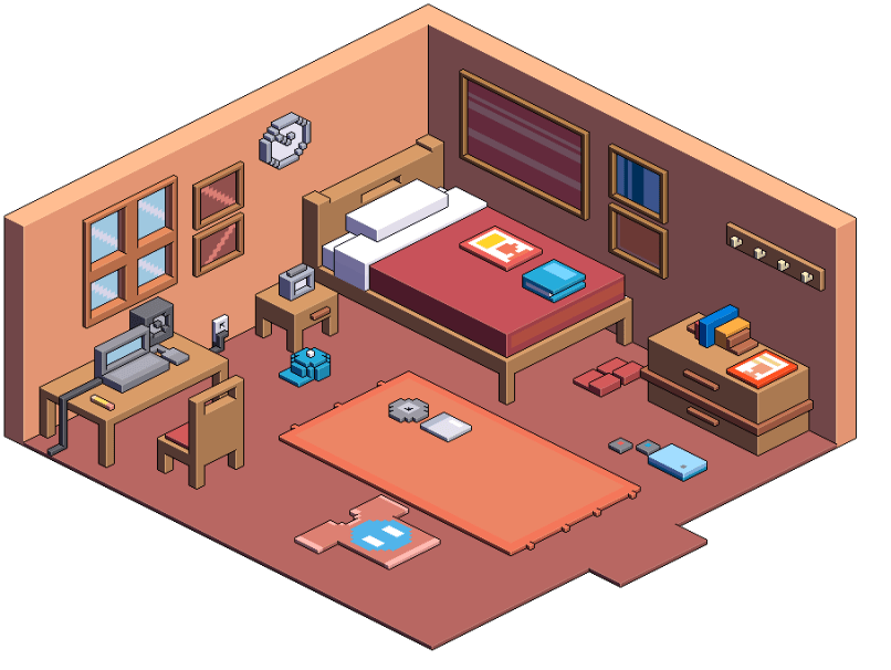 How To Draw Isometric View Of Bedroom | Nakedsnakepress.com on Bedroom Reference  id=24141