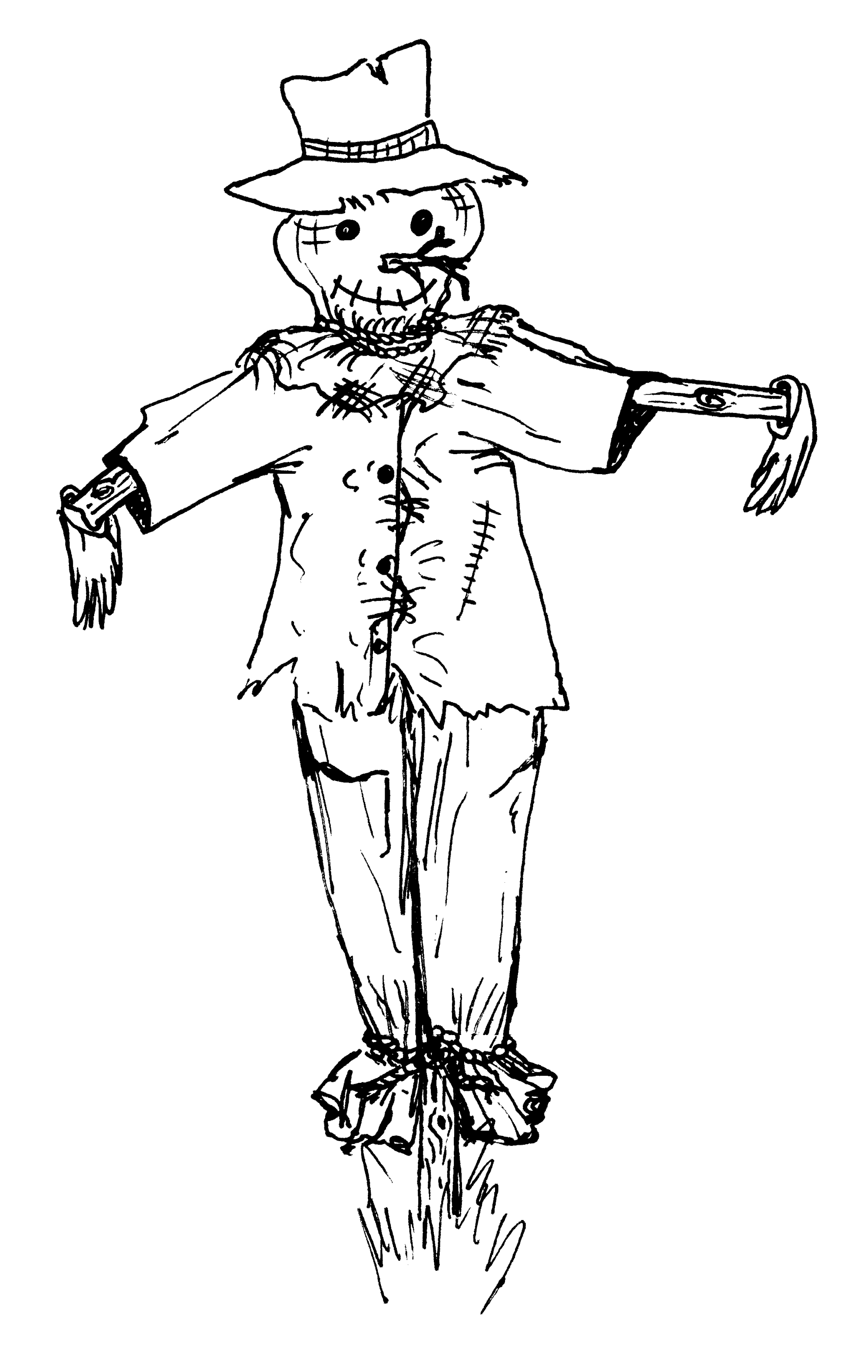 hight resolution of drawing halloween scarecrow free printable coloring pages