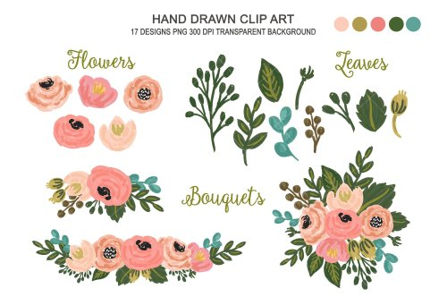 small resolution of floral clipart wedding flower art illustrations