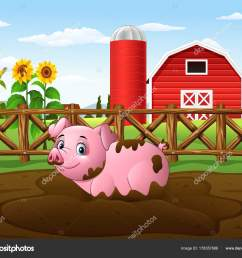 mud clipart farm pig cartoon playing puddle stock [ 1600 x 1339 Pixel ]