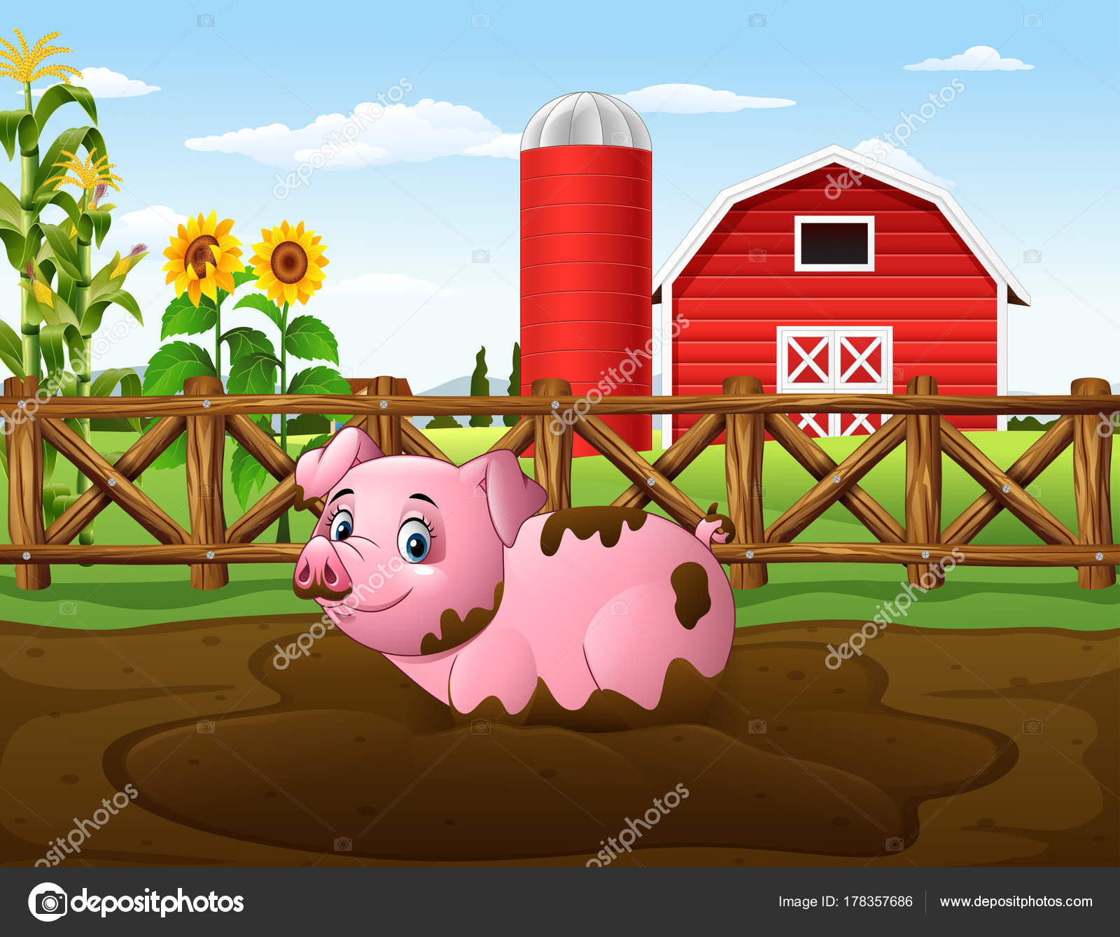 hight resolution of mud clipart farm pig cartoon playing puddle stock