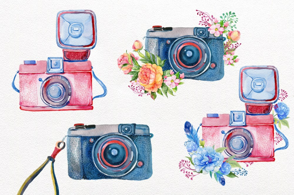 medium resolution of vintage camera watercolor by clipart shop thehungryjpeg com