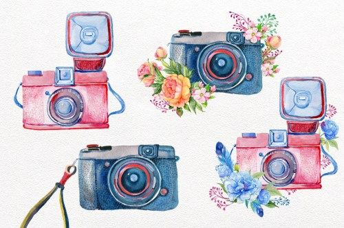 small resolution of vintage camera watercolor by clipart shop thehungryjpeg com