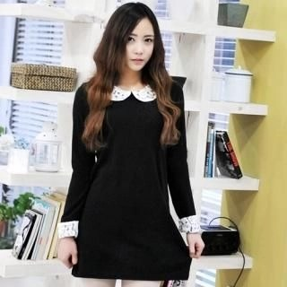 Miss Hong - Peter-Pan Collar Knit Minidress